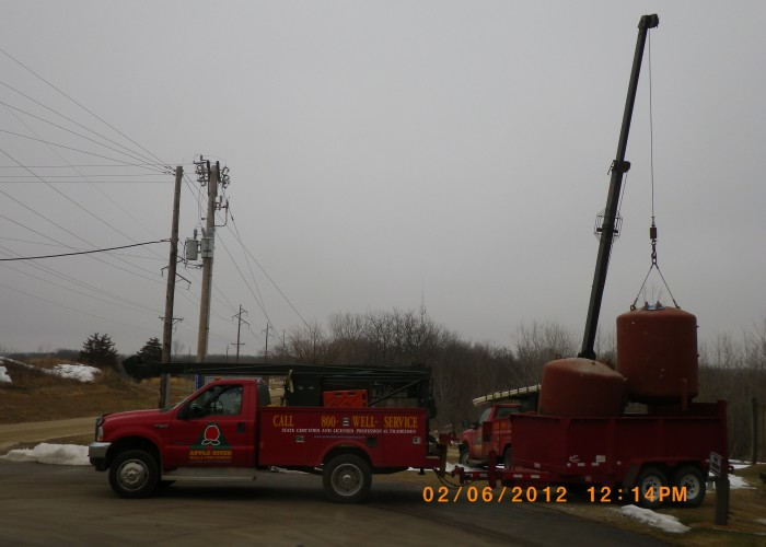 Loading out steel tanks at Long Hollow Point Resort - Galena, IL.