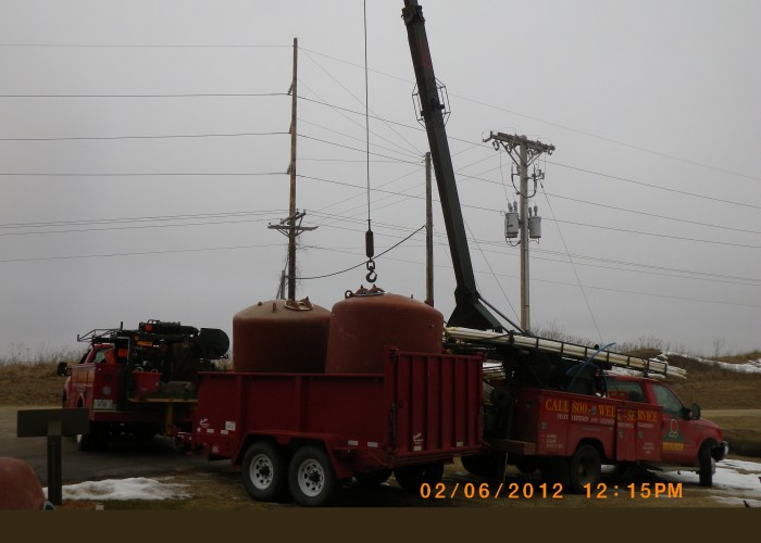 Loading out pressure tanks at Long Hollow Point Resort - Galena, IL